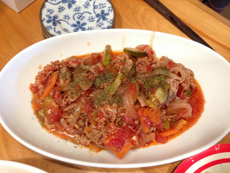 牛野菜炒めのトマト蒸し
